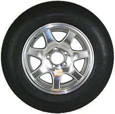 12 thru 15 inch Radial Trailer Tire & Aluminum Rim Assembly