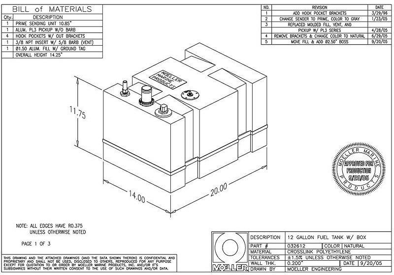 Moeller 12 Gal Below Deck Fuel Tank   032612
