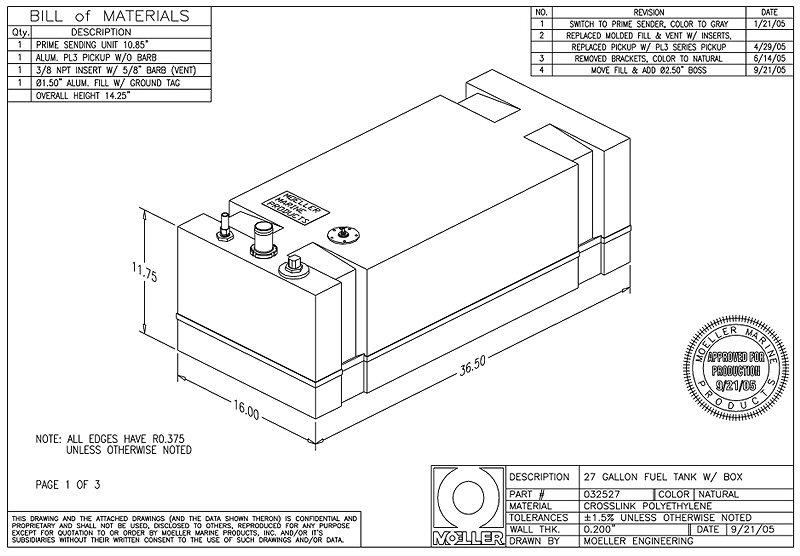 Moeller 27 Gal  Below Deck Fuel Tank   032527