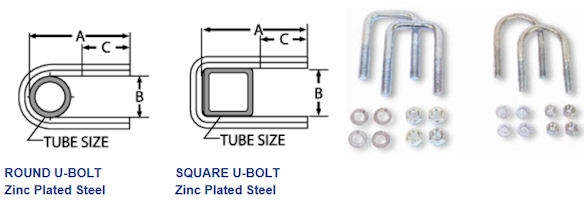 U-Bolts, Zinc Plated