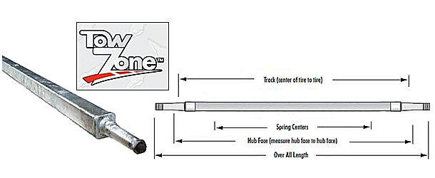 """TIEDOWN 69/"""" Square Galvanized Trailer Axle #49543 2000 lb."""
