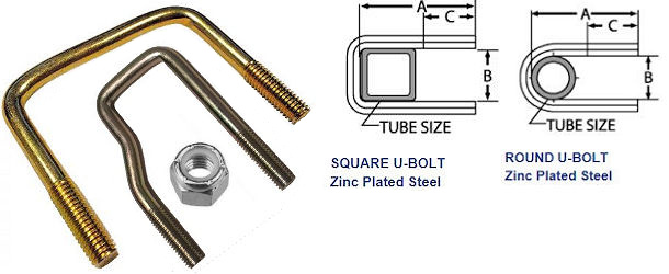 U-Bolts, Zinc Plated Steel at Trailer Parts Superstore