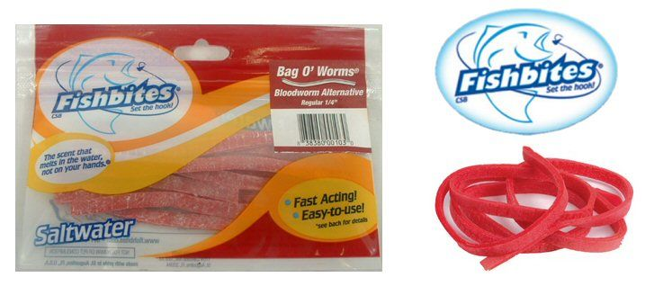 NEW Fish Bites 14 x 12 Bag O/'Worms 3 count ea  TOTAL 12 Red Finish 4 pack