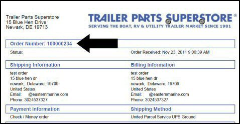 Order Tracking for Trailer Parts Superstore®