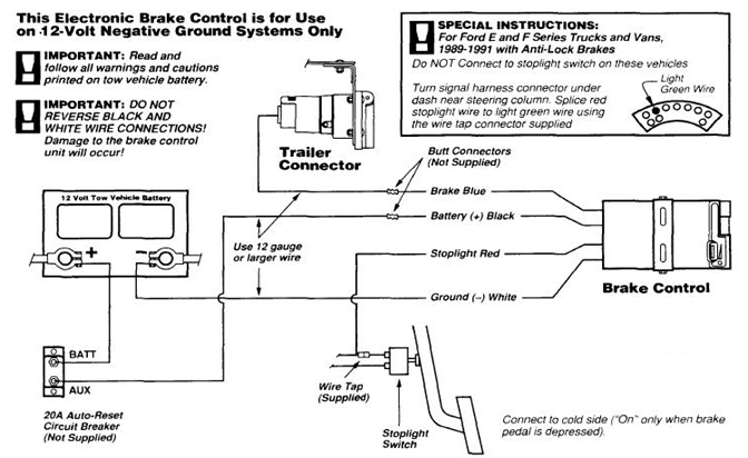Trailer Brake Controller Wiring >> Typical Vehicle Trailer Brake Control Wiring Diagram